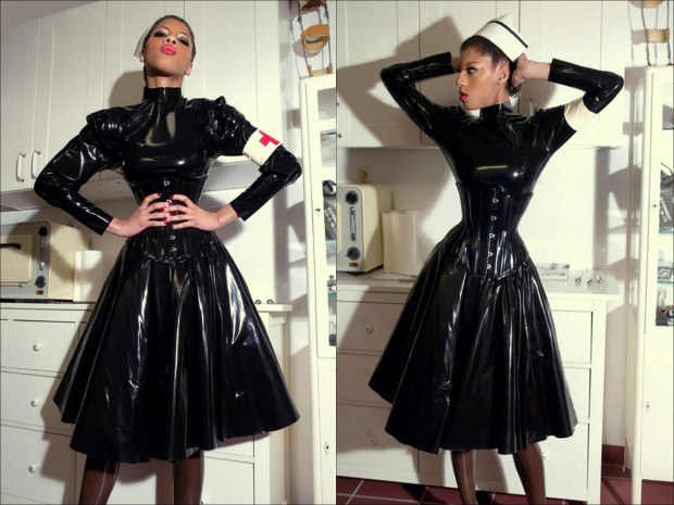 Fetish nurse dresses in latex uniform