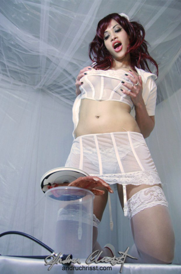 Redheaded nurse is ready for something kinky