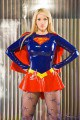 Busty blonde in superhero outfit teases with her legs