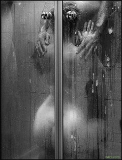 Sex in shower balck and white
