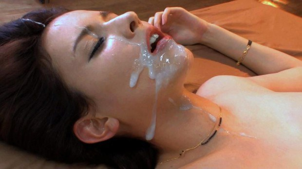 Lovely babe face splattered with cum