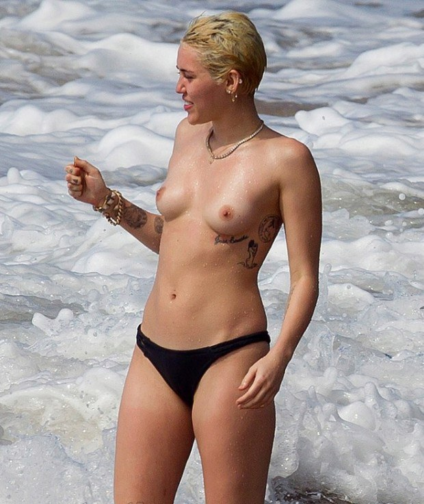 Celebrity Miley Cyrus Is Topless At The Beach-6829