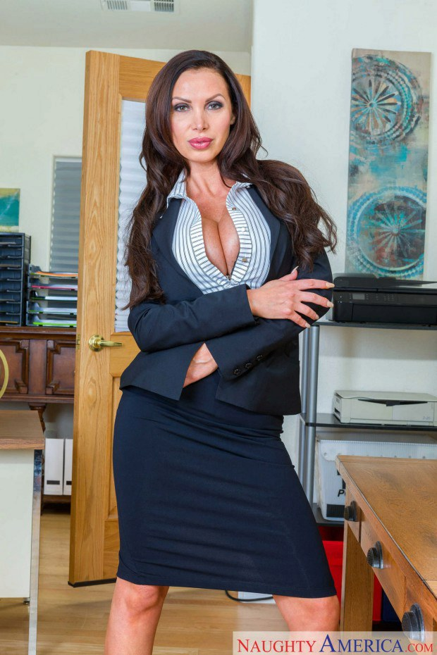 Appetizing MILF boss strips and teases at the office