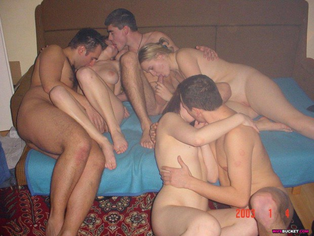 Three swinger couples attend amateur orgy
