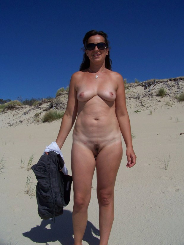 Real Wife Walking Naked On The Sand-6056