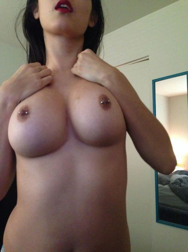 Real Amateur Takes A Pic Of Her Pierced Nipples-9256