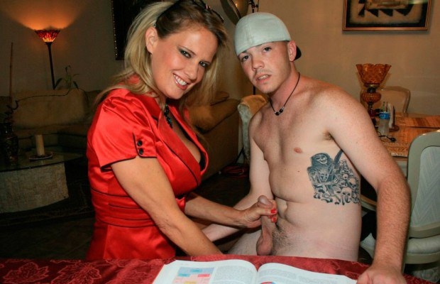 Busty Cougar Jerking Off Young Studs Dick-5893