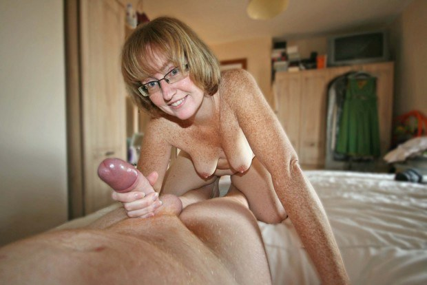 Freckled Mature Wife Gives Handjob-6429
