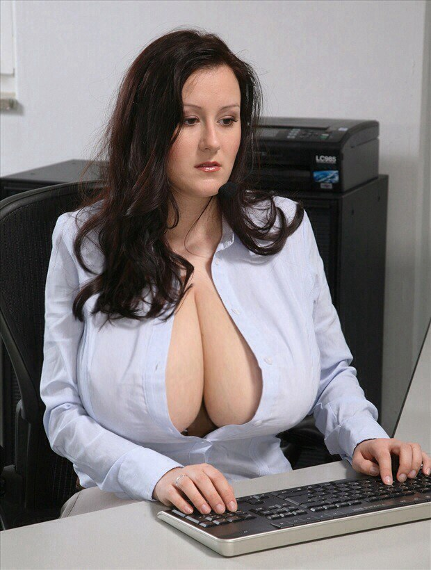 This secretary has the biggest boobies ever