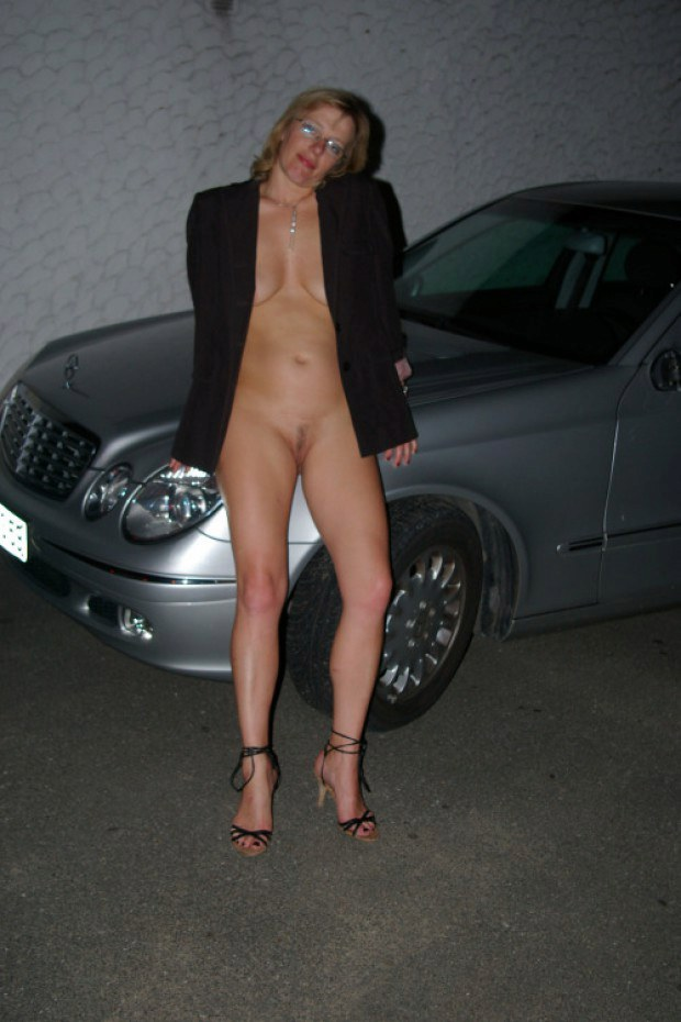 Wife Claudine shows her twat in the parking lot