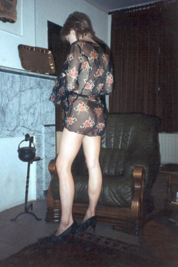 Wife shows her sexy ass through transparent dress
