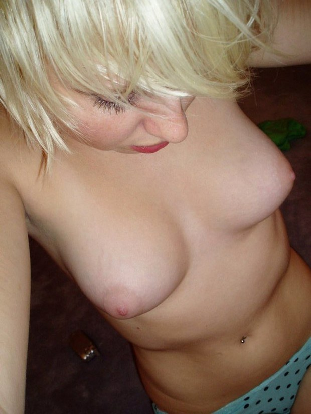 Topless blonde amateur has really nice tits