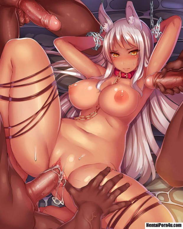 Anime bunny babe with big boobies gang banged