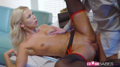 Enticing blonde in stockings takes dick at the office