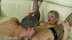 A horny blonde lady gets fucked