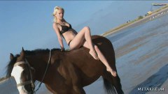 Topless horse riding