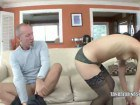 Curly latina does old guys cock
