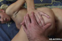 Sexy hot blonde getting both holes pumped