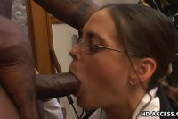 Experienced teacher sucking on a black cock