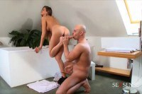 Amateur brunette gets nailed for foot fun