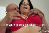 Lucky grandpa doing a nasty brunette
